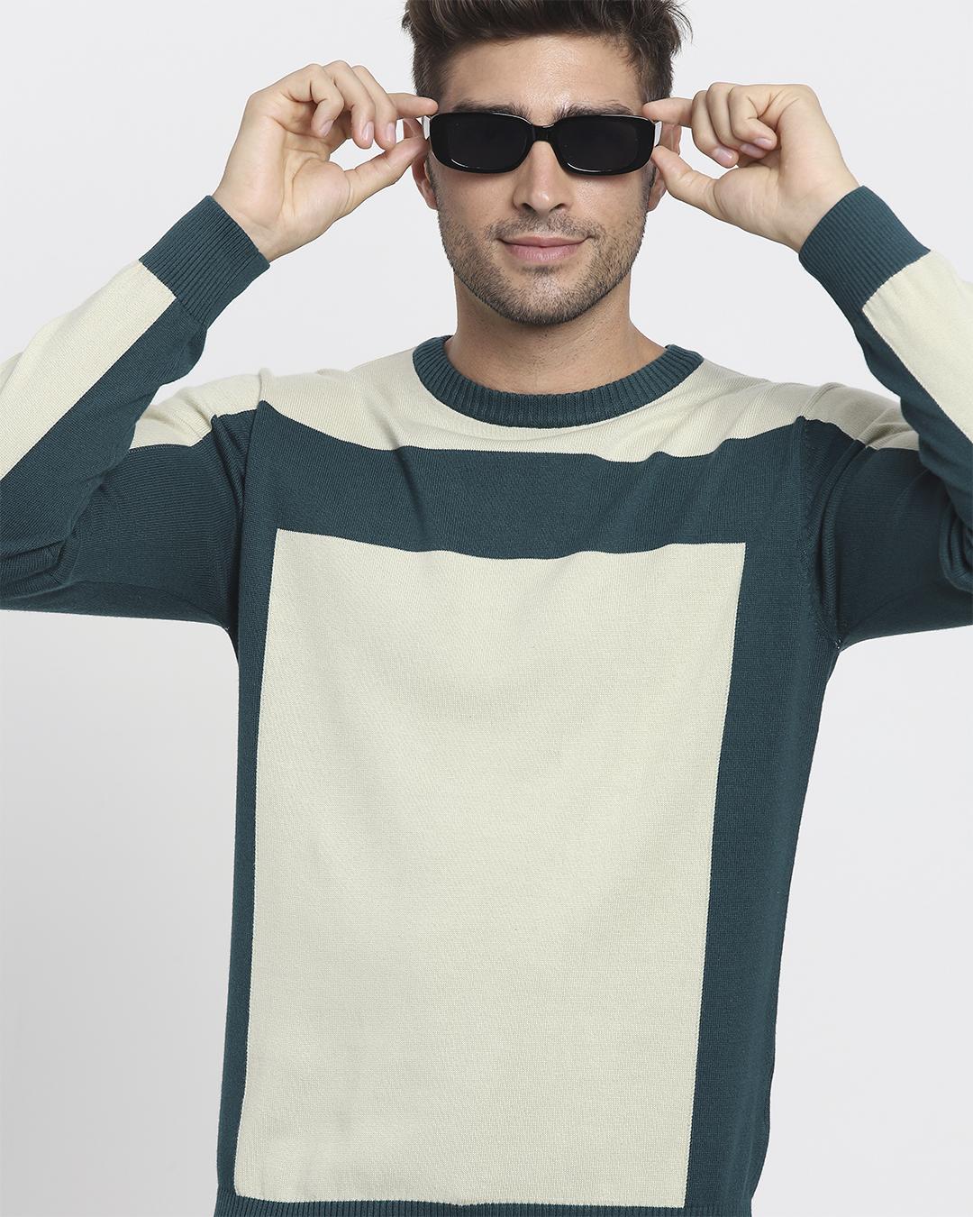 ShopAloe Wash Color Block Flat Knit Sweater-Front