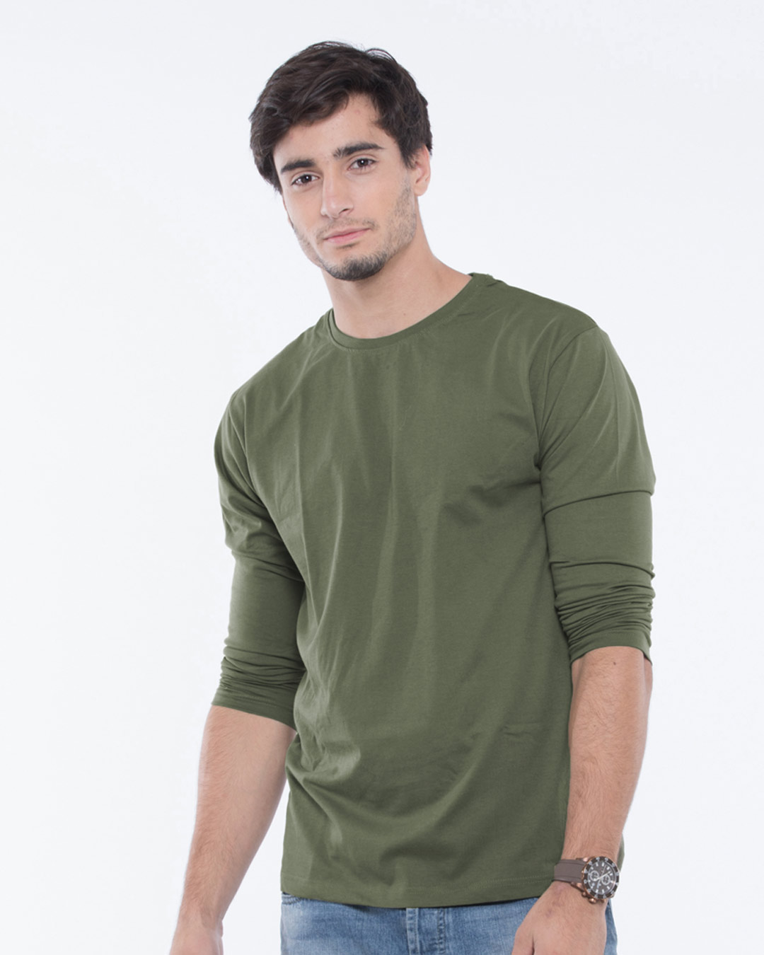 Buy army green fullsleeve t shirt men 39 s fullsleeve t shirt for Full sleeves t shirts for men