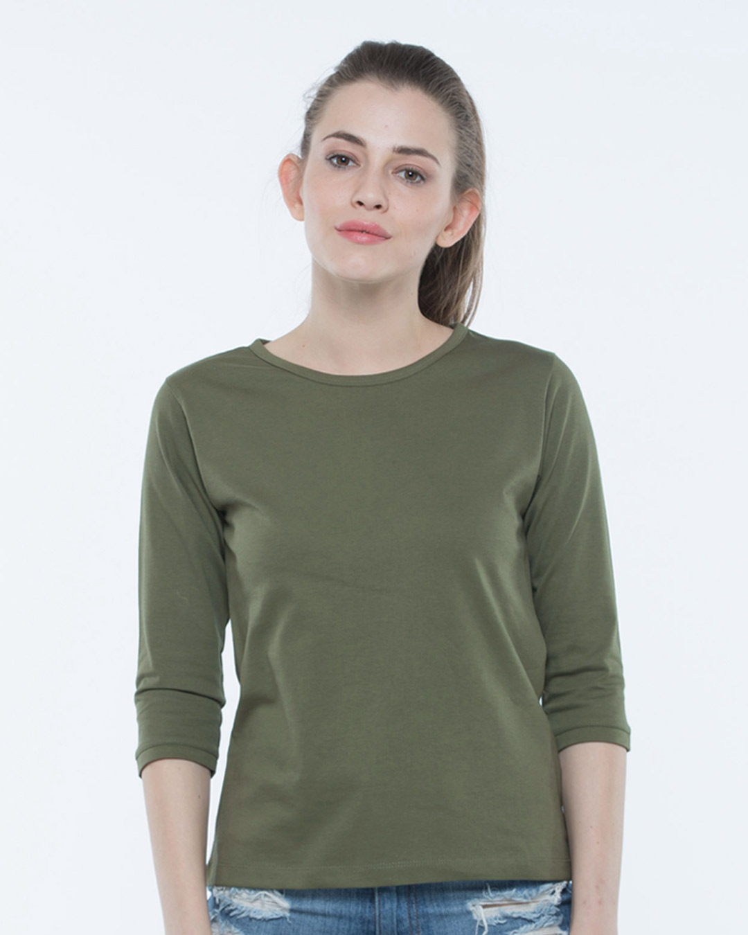 Buy army green 3 4th sleeve t shirt women 39 s 3 4th t shirt for Round neck t shirts for ladies