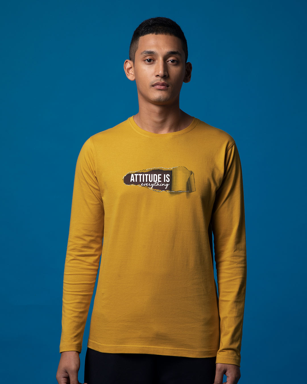 5153d0333d4e Buy Attitude Is Everything Yellow Printed Full Sleeve T Shirt For