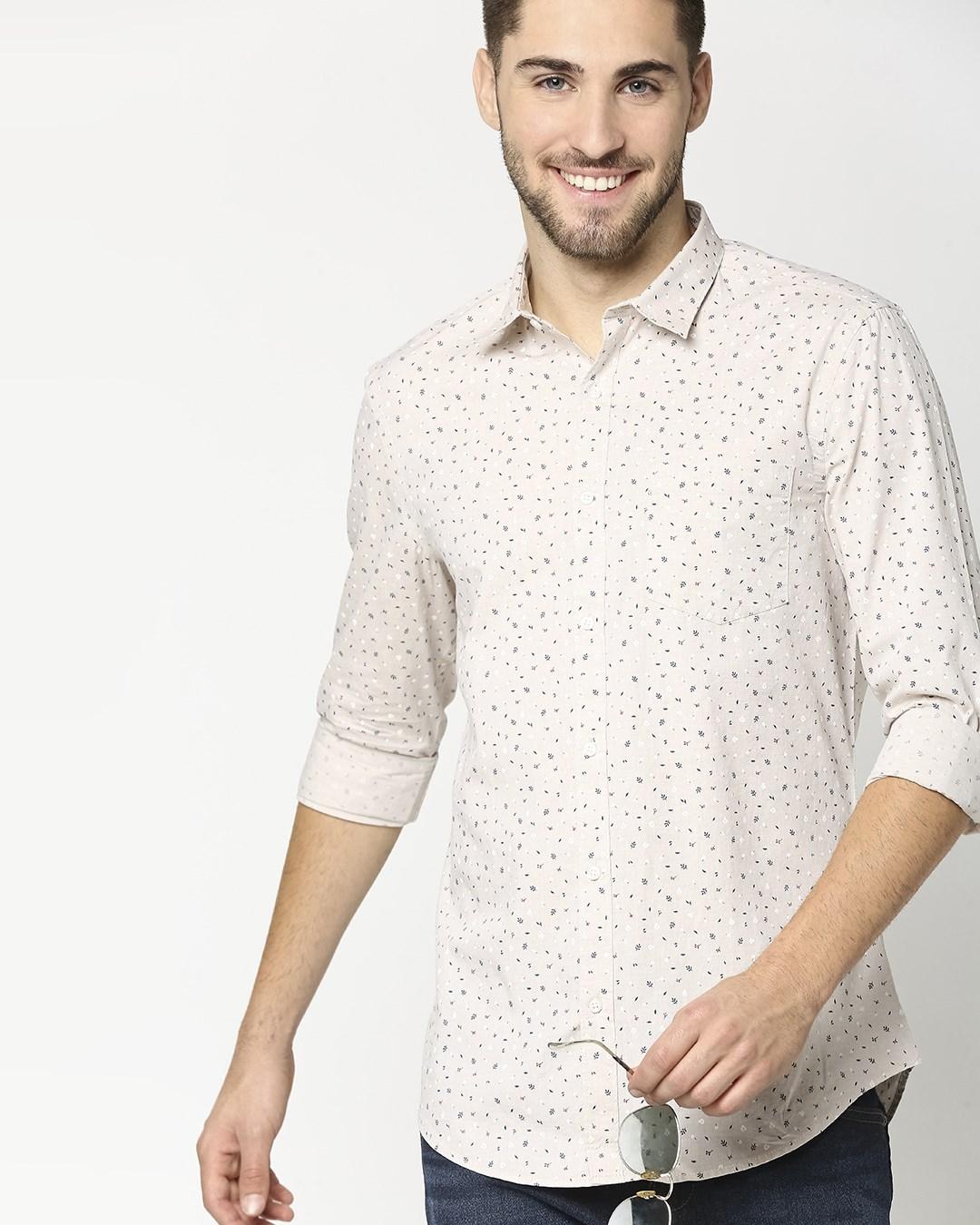 ShopBeige Cotton Melange Shirt-Back