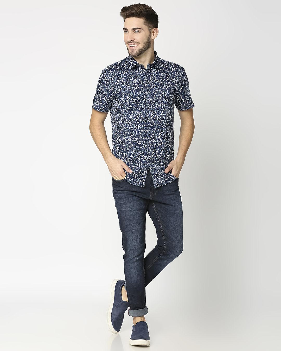 ShopAOP Satin Print Half Sleeve Shirt