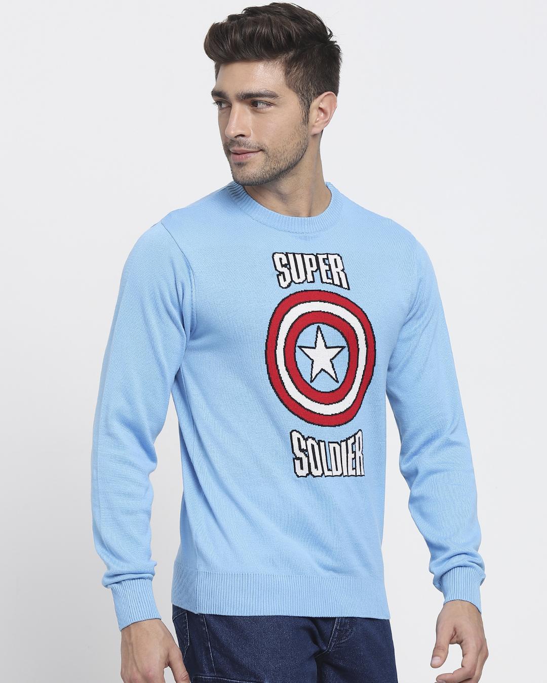 ShopBlue Quartz Full Sleeve Flat Knit Sweater-Back