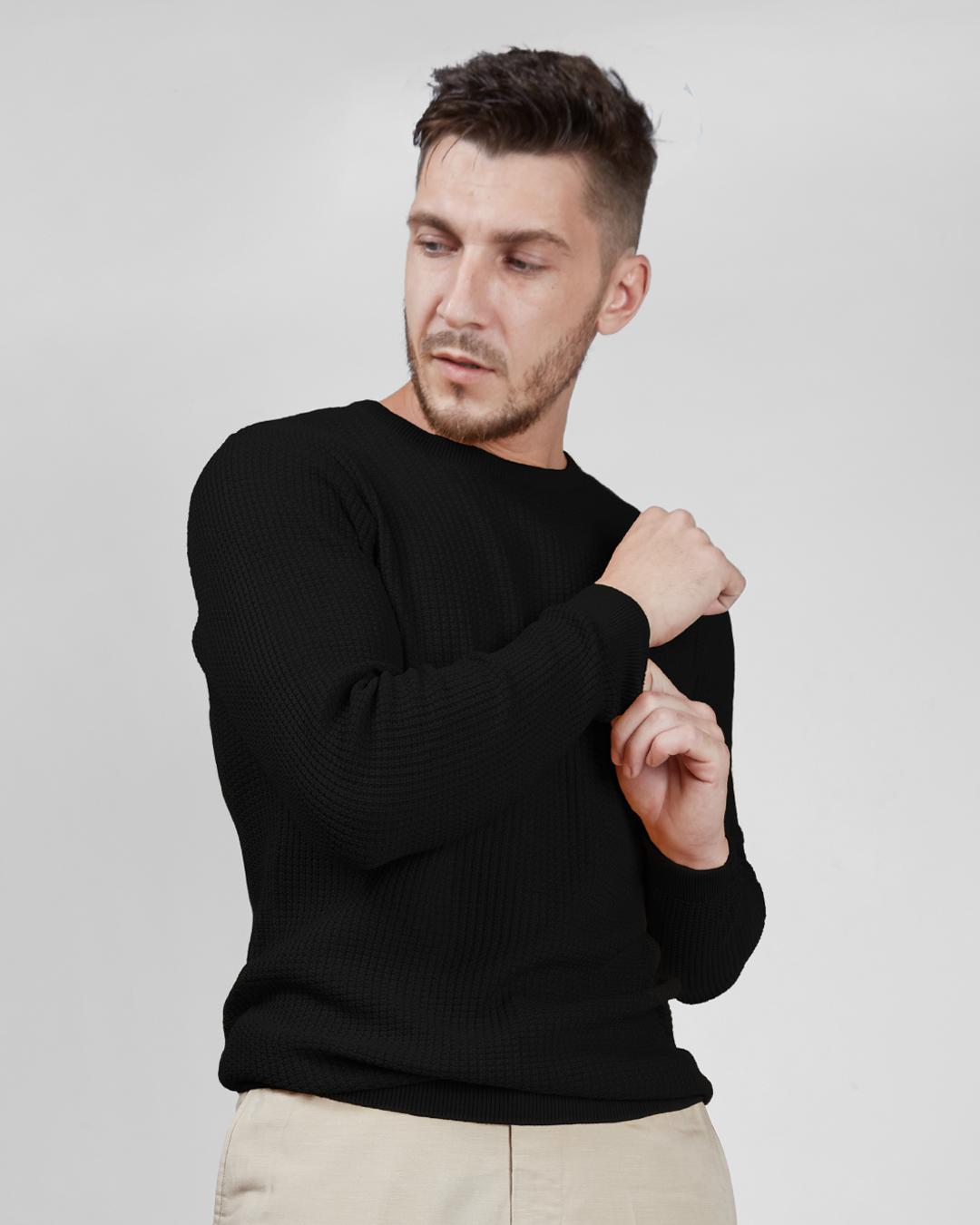 ShopBlack Waffle Sweater-Design