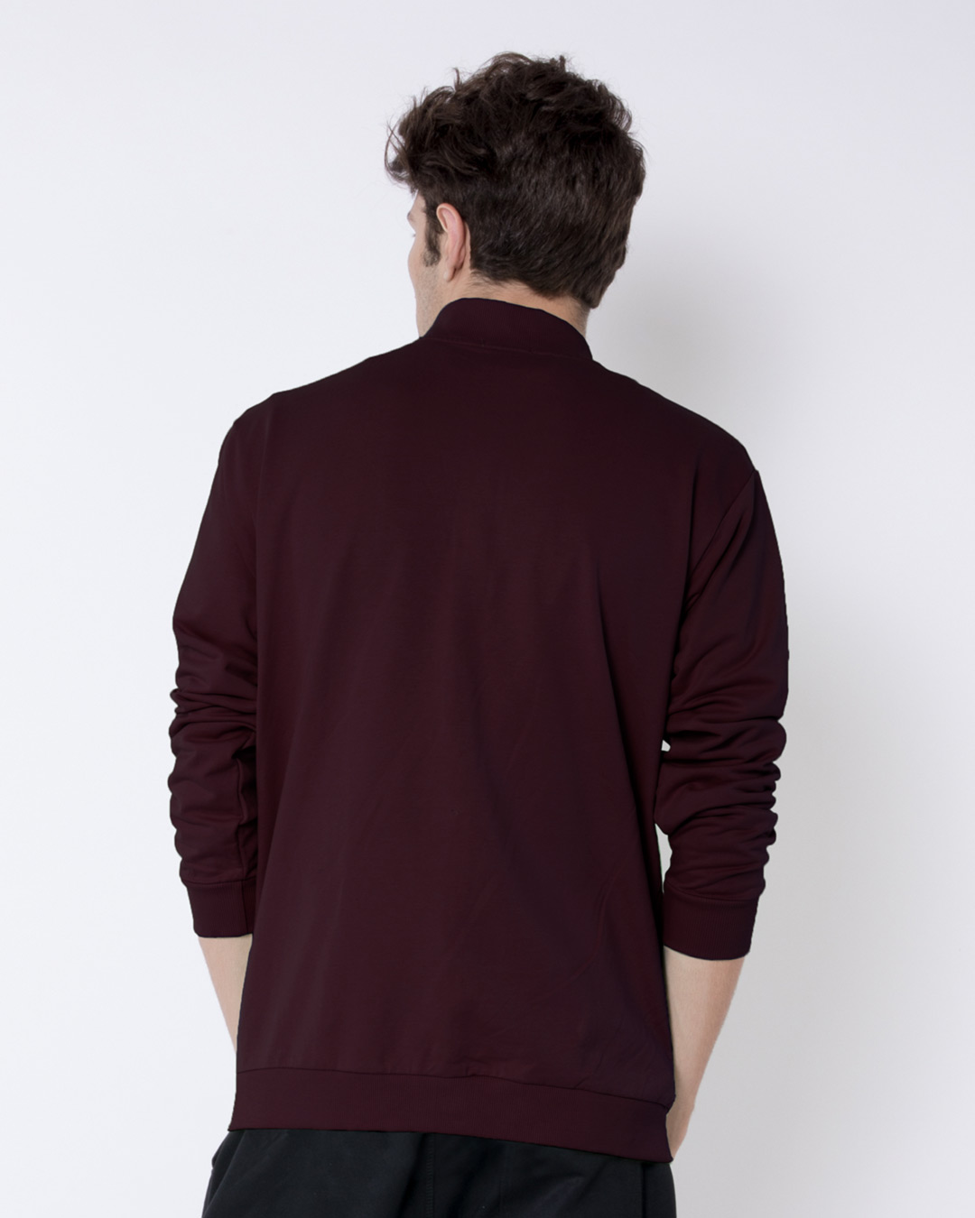 edf2193a3 Burgundy Buttoned Bomber Jacket