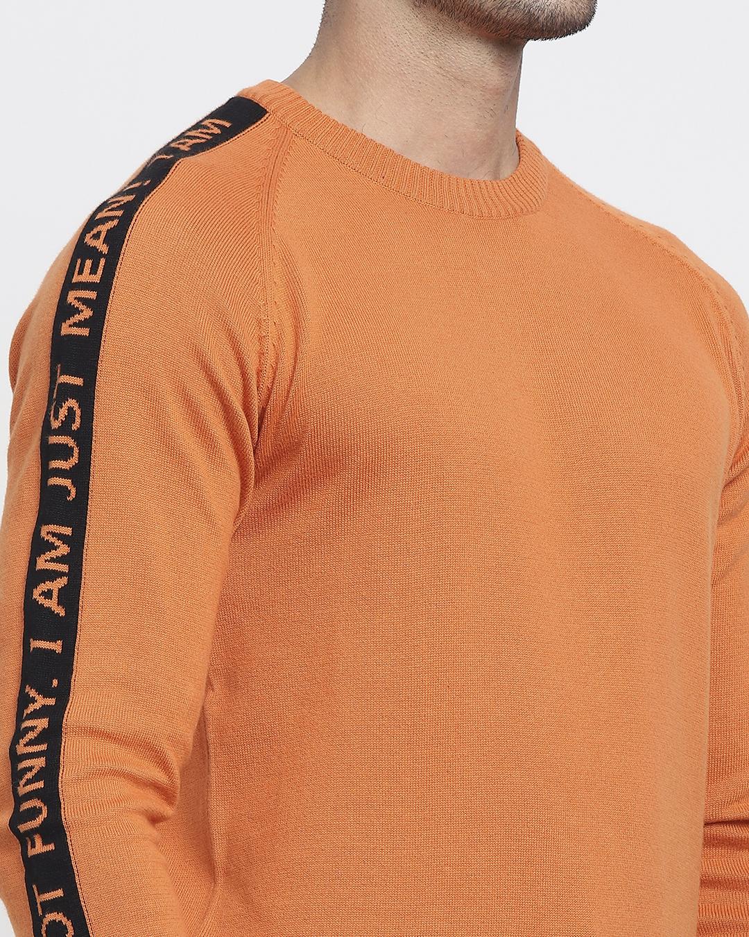 ShopBurnt Orange Shoulder Panel Flat Knit Sweater-Full