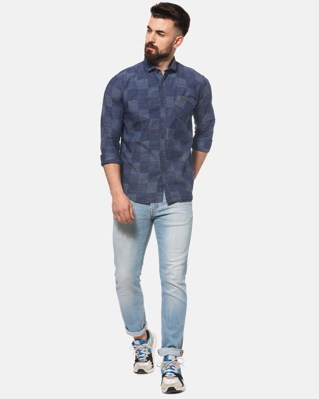 ShopMen Casual Checkered Shirt-Full