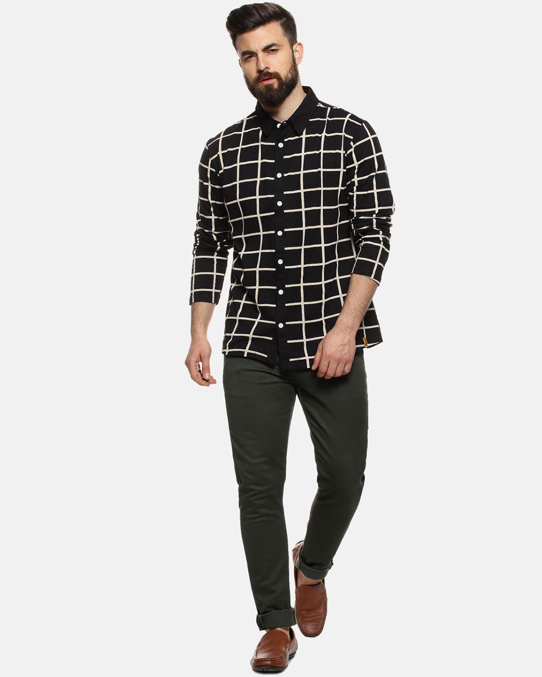 ShopMen Checks Casual Stylish Spread Shirt-Full