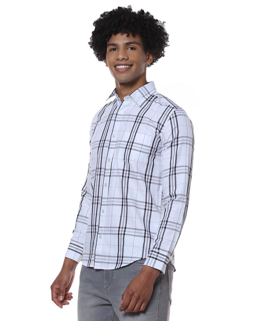 ShopMen Checks Casual Stylish Spread Shirt-Back