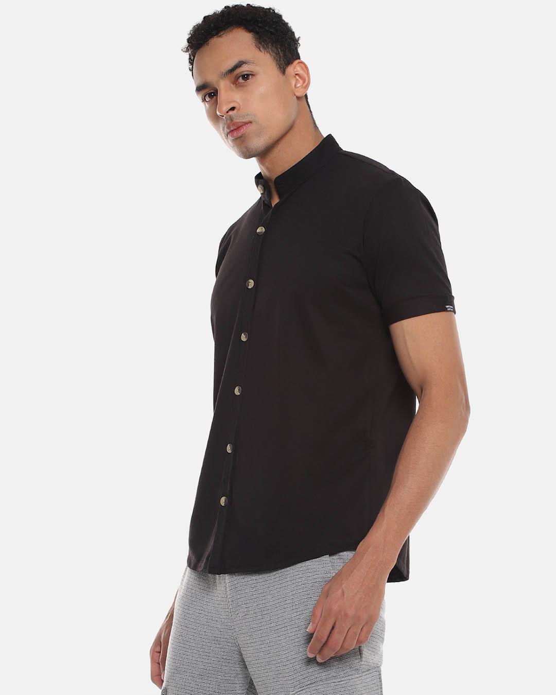 ShopMen Solid Stylish Half Sleeve Casual Shirts-Back