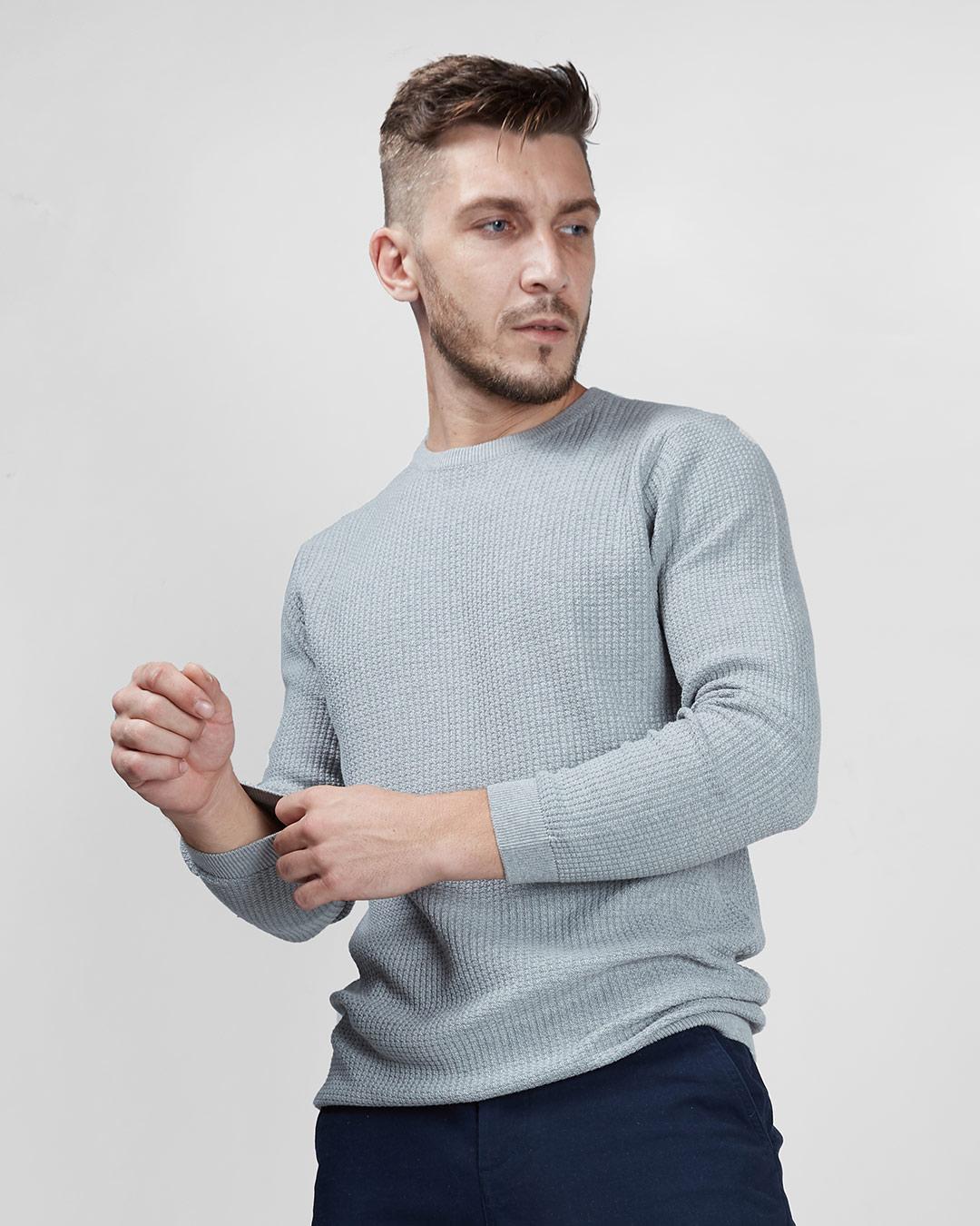 ShopCharcoal Waffle Knit Full Sleeves Sweater-Back
