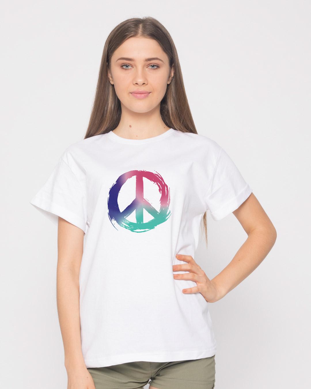 Colors of Peace Boyfriend T-Shirt - Colors of Peace Womens Boyfriend T- Shirts Best Price India - Bewakoof.com a656b8c83c