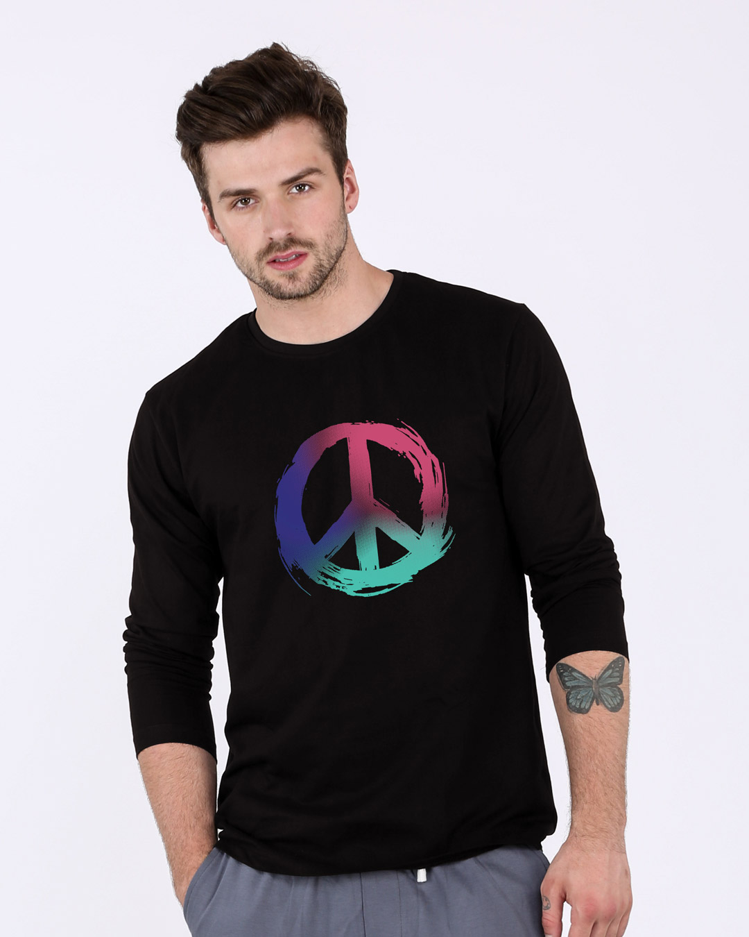 Colors of peace fullsleeve t shirt colors of peace mens for Full sleeves t shirts for men