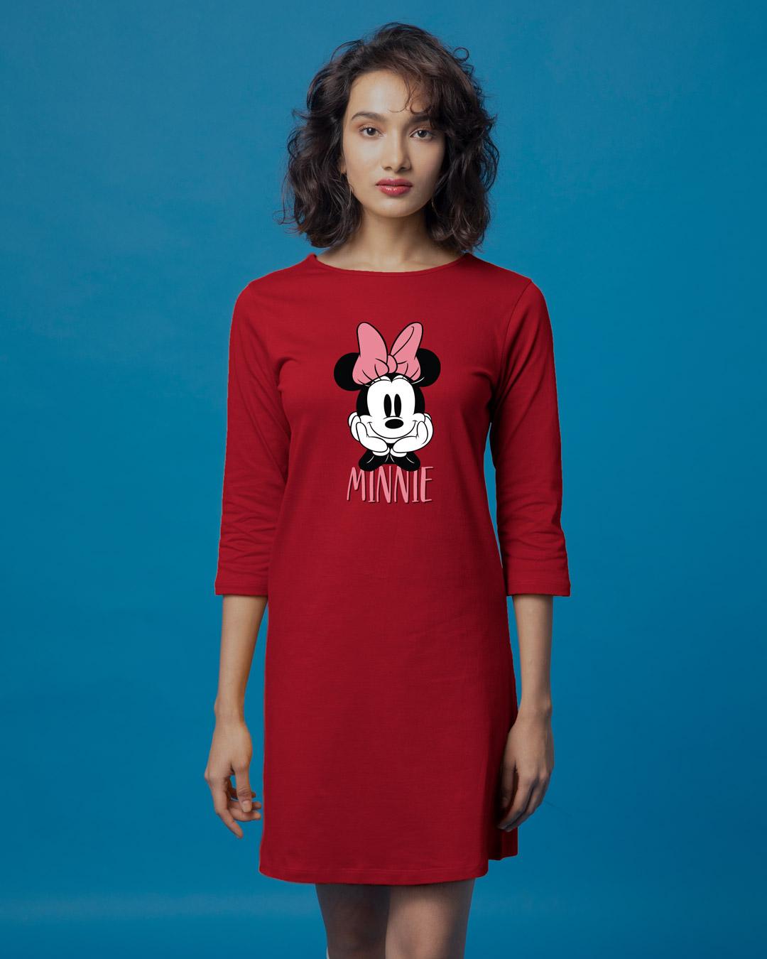 Buy Cute Minnie Printed 34 Sleeve T Shirt Dress For Women Online