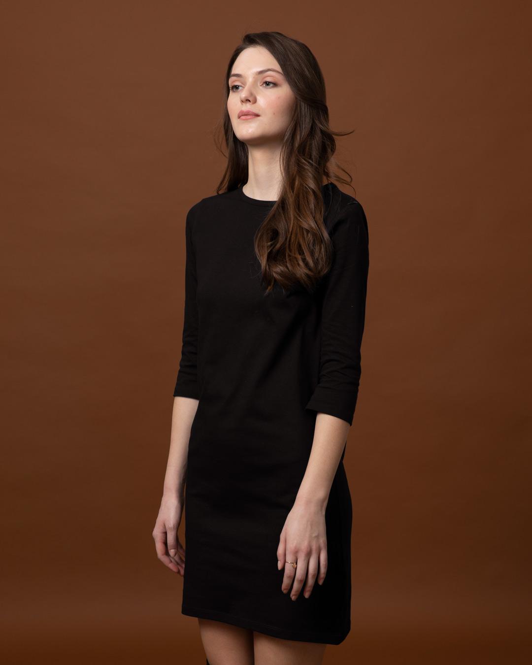 Buy Jet Black Printed 34 Sleeve T Shirt Dress For Women Online