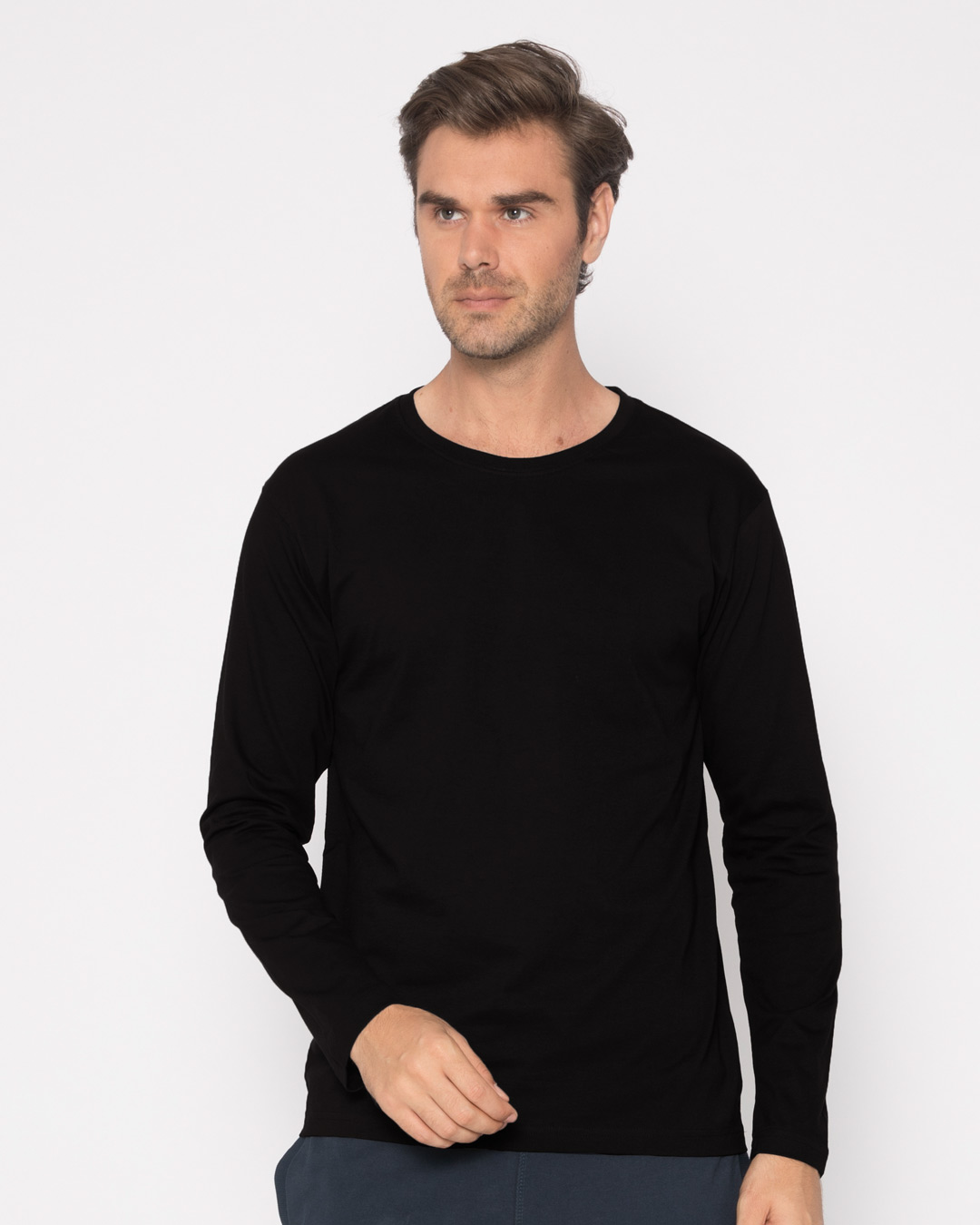 Jet black plain long full sleeve t shirts for men online for Full sleeves t shirts for men