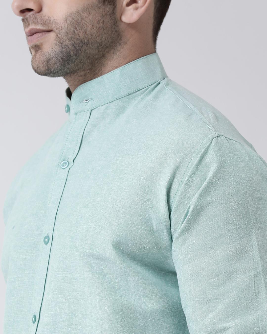 ShopFull Sleeves Cotton Casual Chinese Neck Shirt