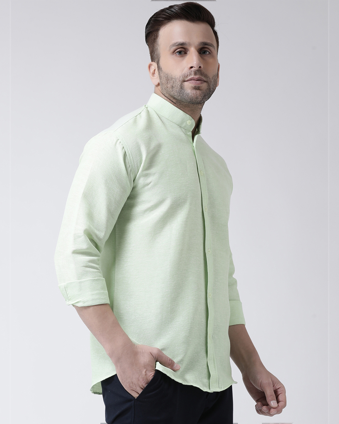 ShopFull Sleeves Cotton Casual Chinese Neck Shirt-Full