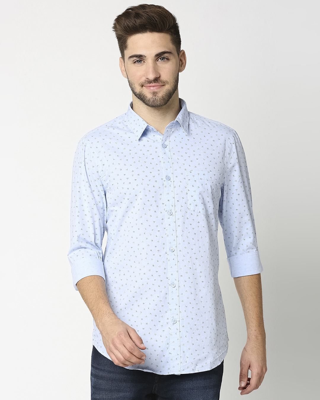 ShopLight Blue Cotton Melange Shirt-Back