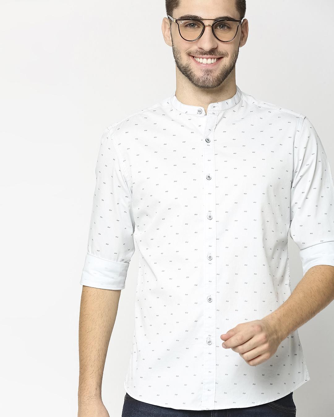 ShopLight Blue Twill Lycra Print Shirt-Back