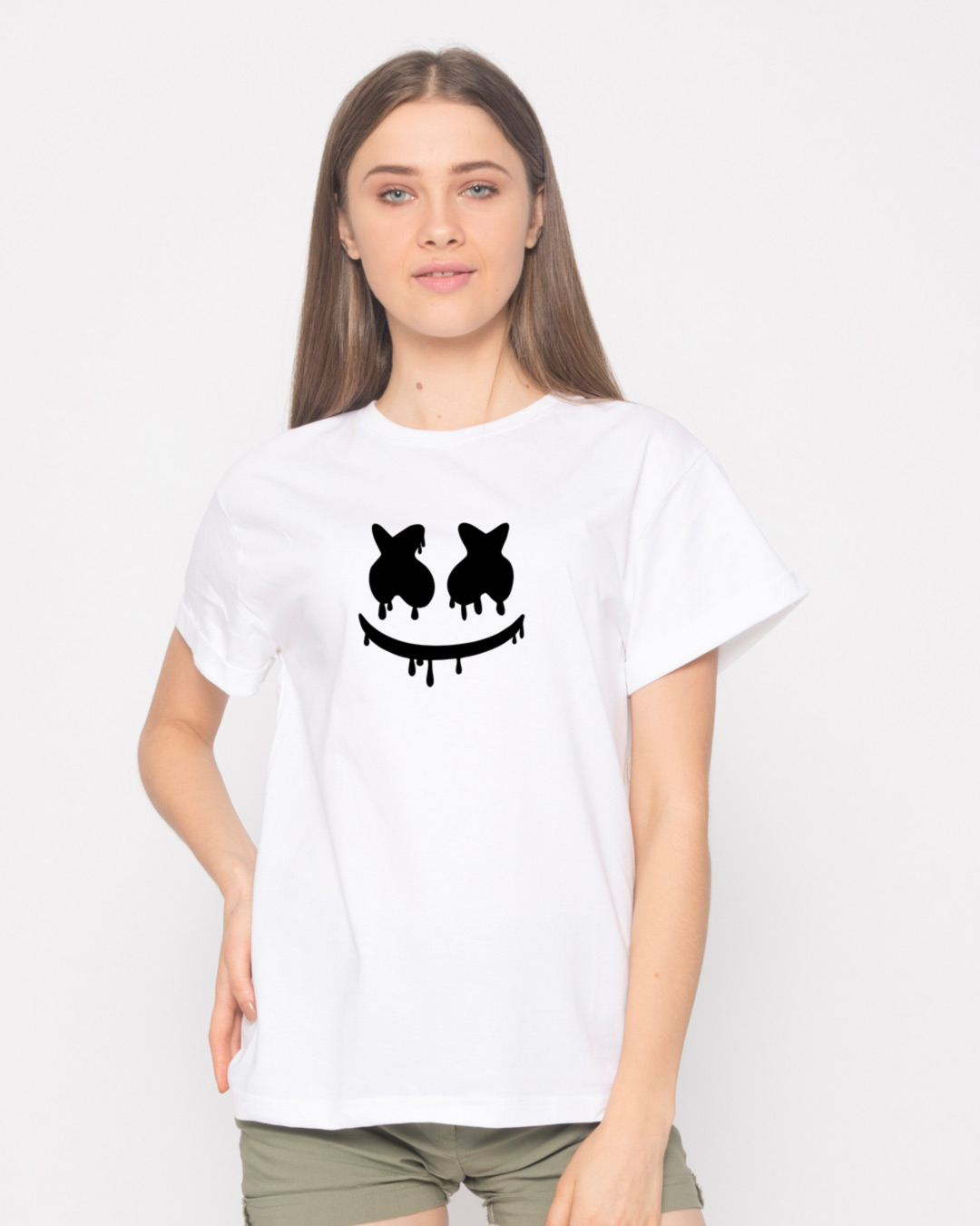 Buy marshmello mask printed half sleeve boyfriend t shirt for Make photo t shirt online