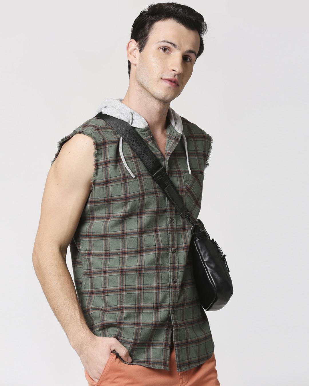ShopMens Sleeveless Checks Hoodie Shirt-Back