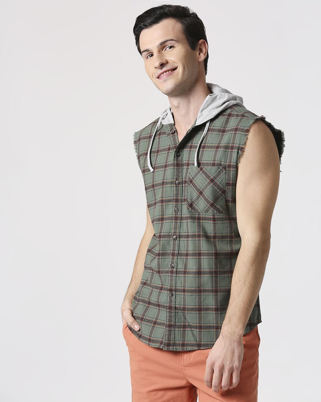 ShopMens Sleeveless Checks Hoodie Shirt-Design