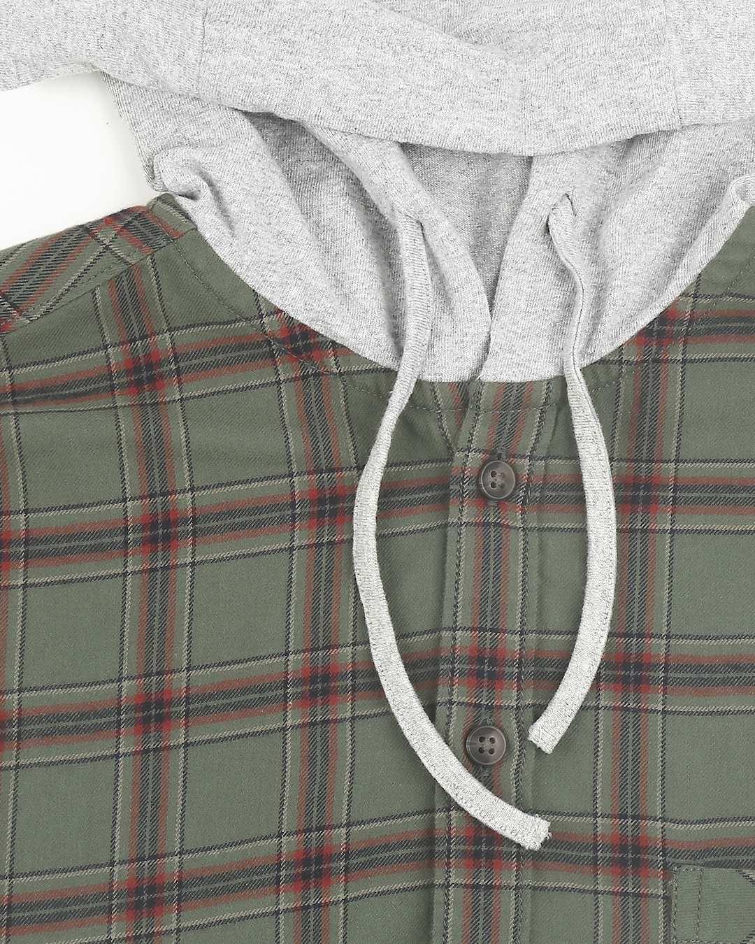 ShopMens Sleeveless Checks Hoodie Shirt