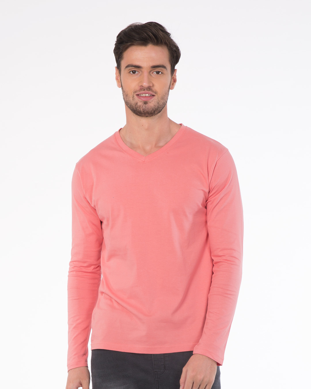 Millennial pink v neck fullsleeve t shirts plain mens v for Mens full sleeve t shirts online
