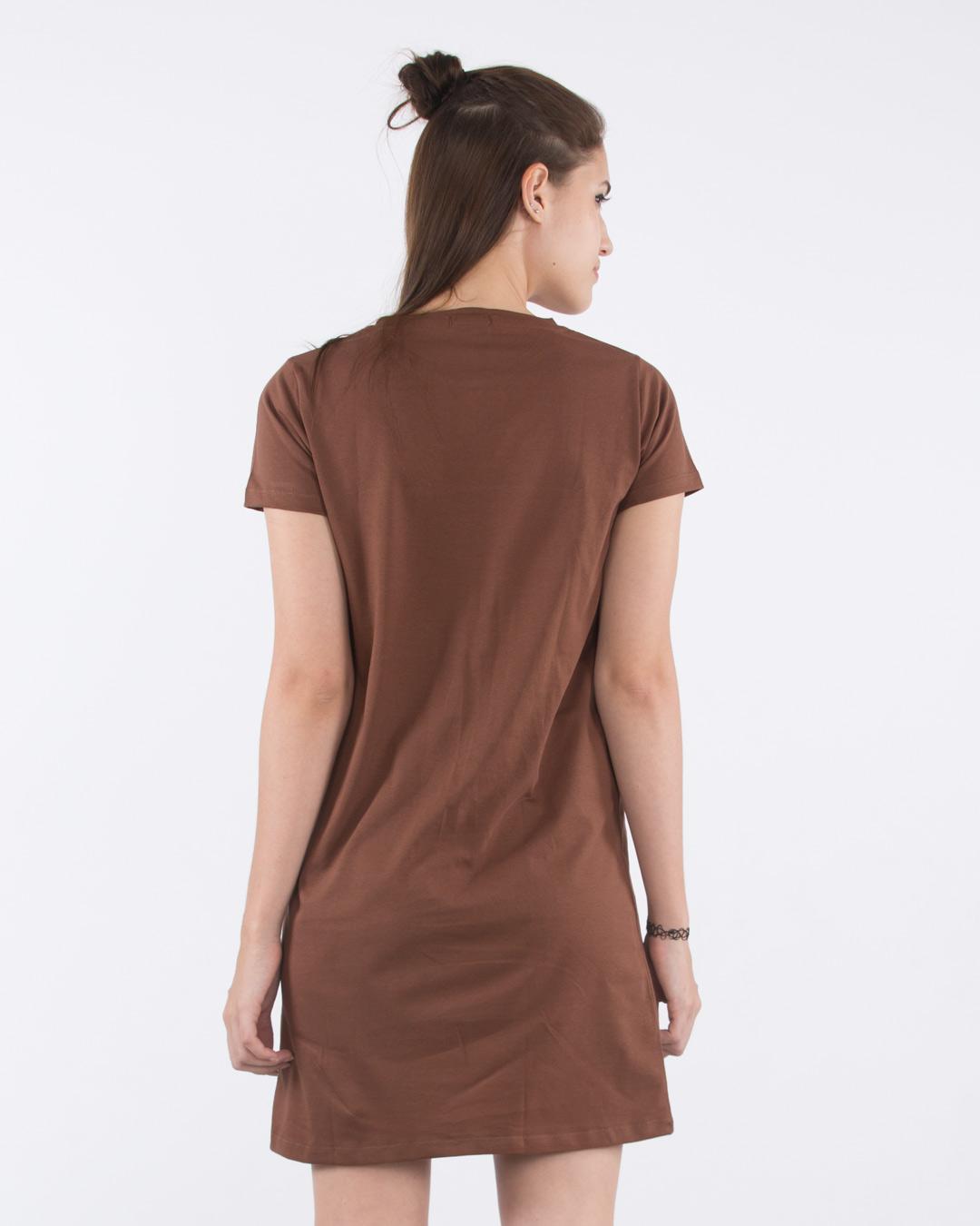 acce25a6ff22 Mocha Brown Basic T-Shirt Dress - Plain Womens Basic T-Shirt Dress ...
