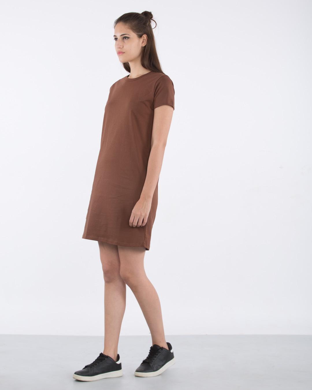 0248f7dd60f9 Mocha Brown Basic T-Shirt Dress - Plain Womens Basic T-Shirt Dress  Best  Price India - Bewakoof.com