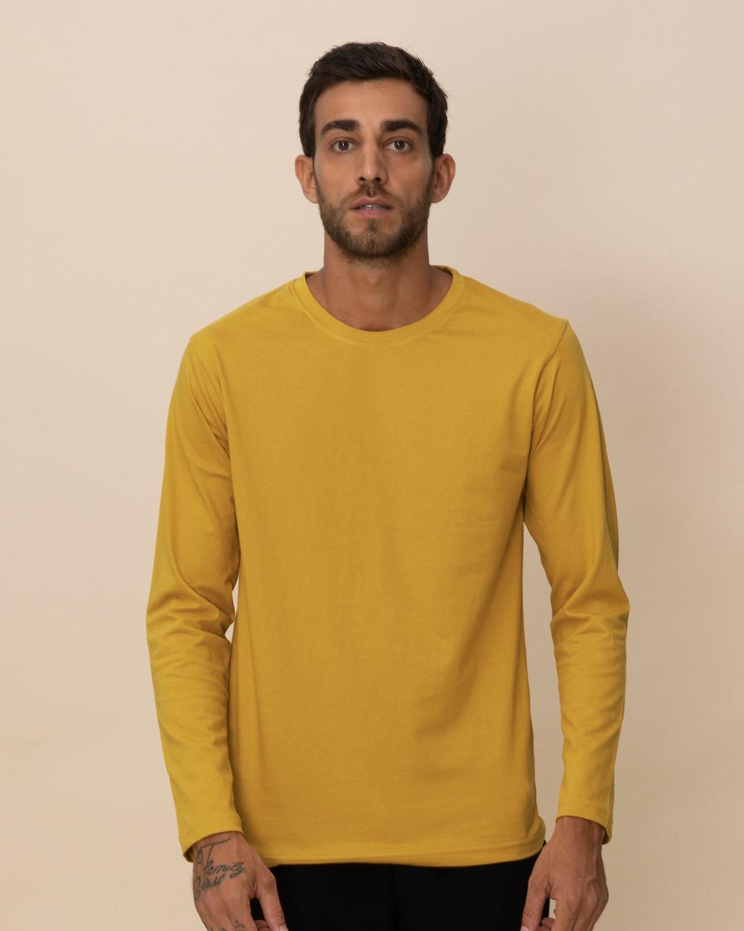 Buy Mustard Yellow Plain Full Sleeve T Shirt For Men Online India Bewakoof Com