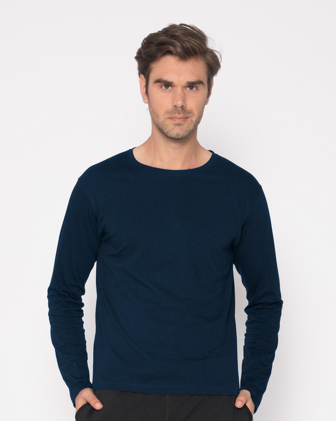 Navy Blue Plain Long/Full Sleeve T-Shirts for Men Online