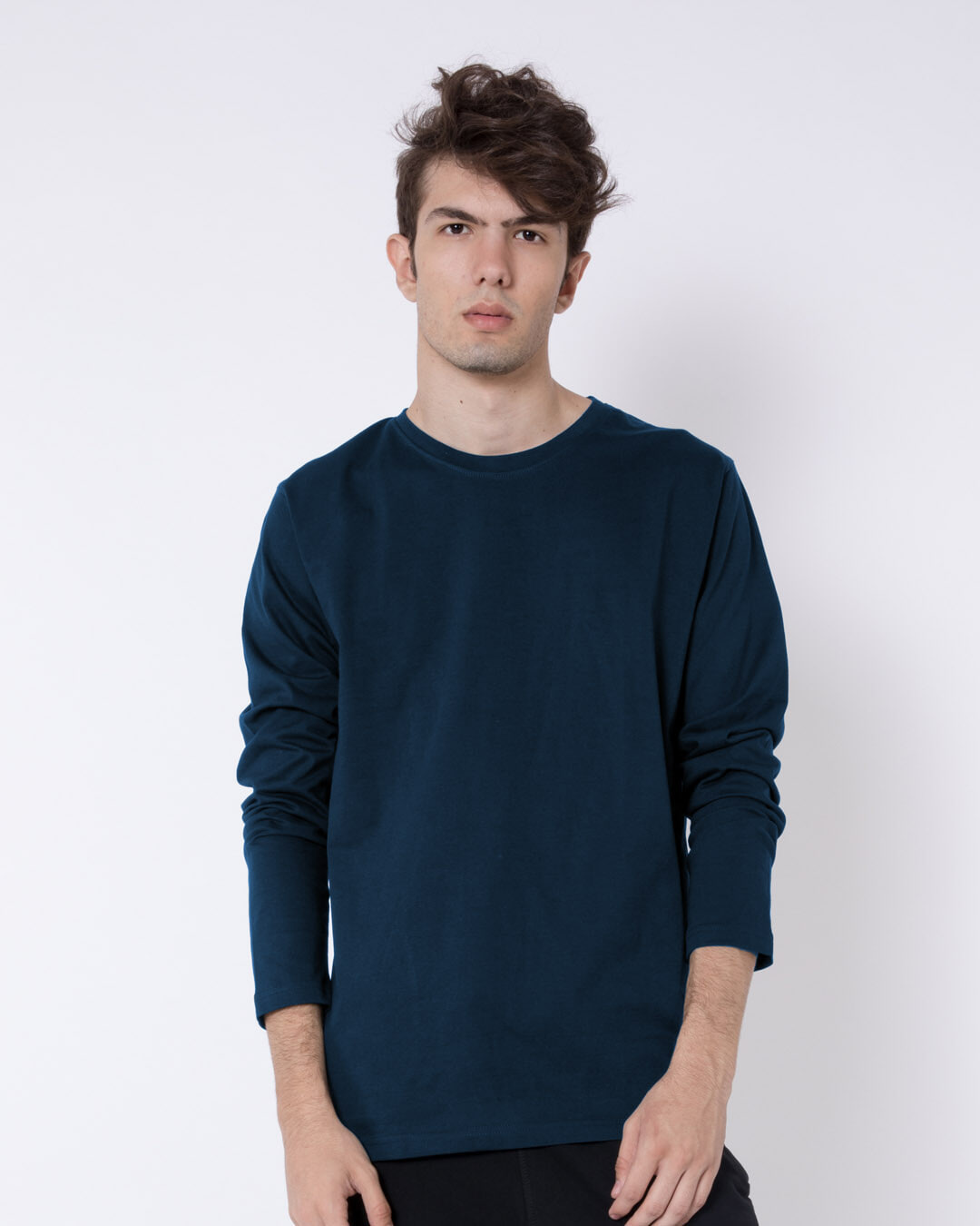 Navy Blue Plain Long Full Sleeve T-Shirts for Men Online at Bewakoof.com 0fda9573158