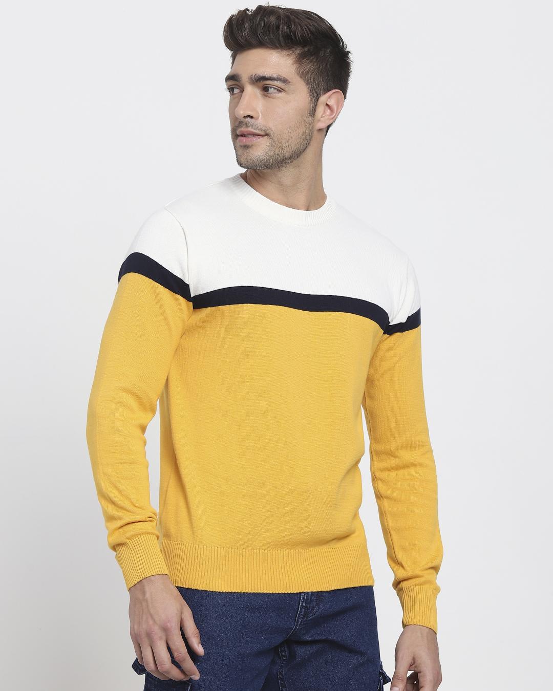 ShopOld Gold Color Block Flat Knit Sweater-Back