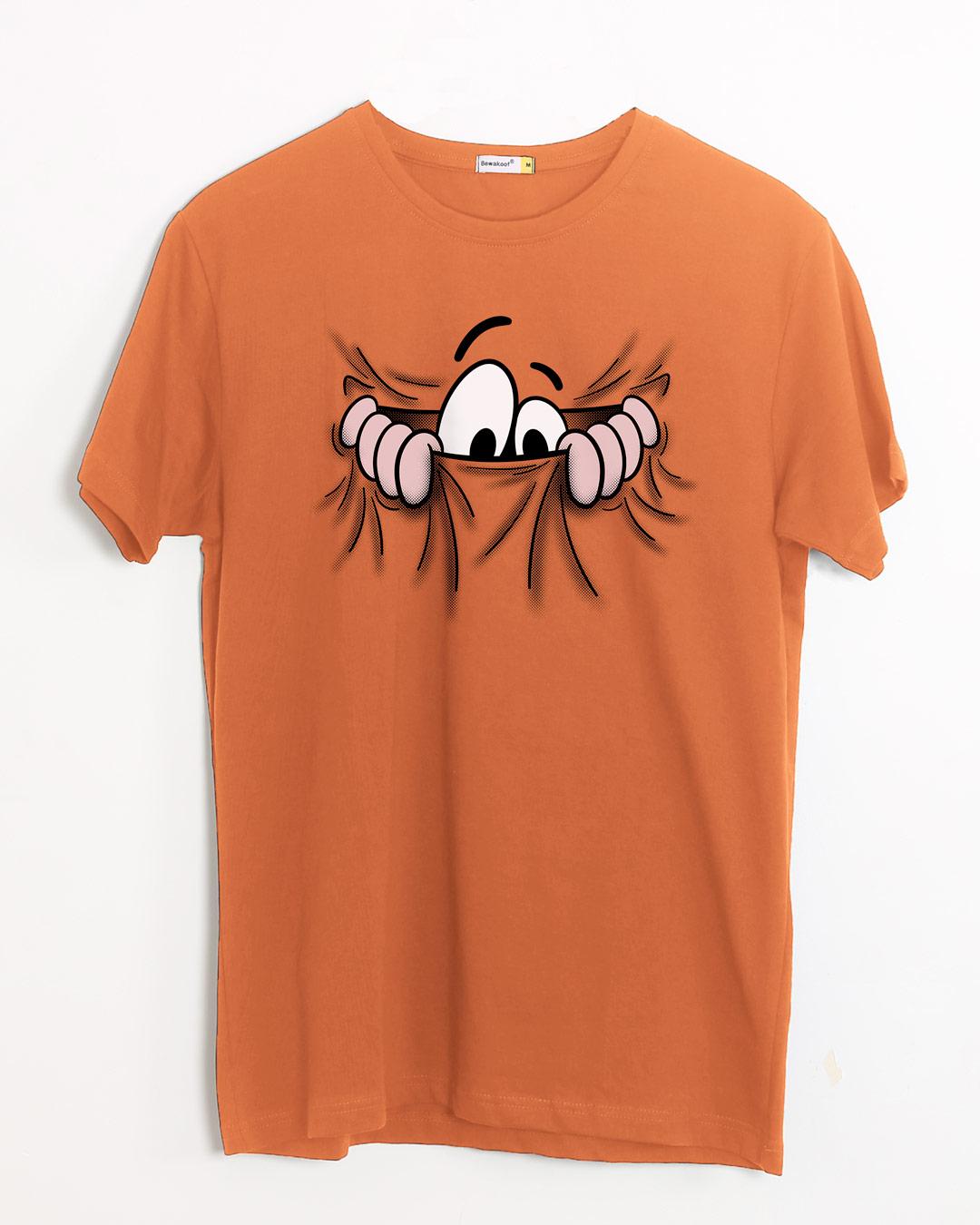 e55d453f30c Buy Peek Out Orange Printed Half Sleeve T-Shirt For Men Online India ...