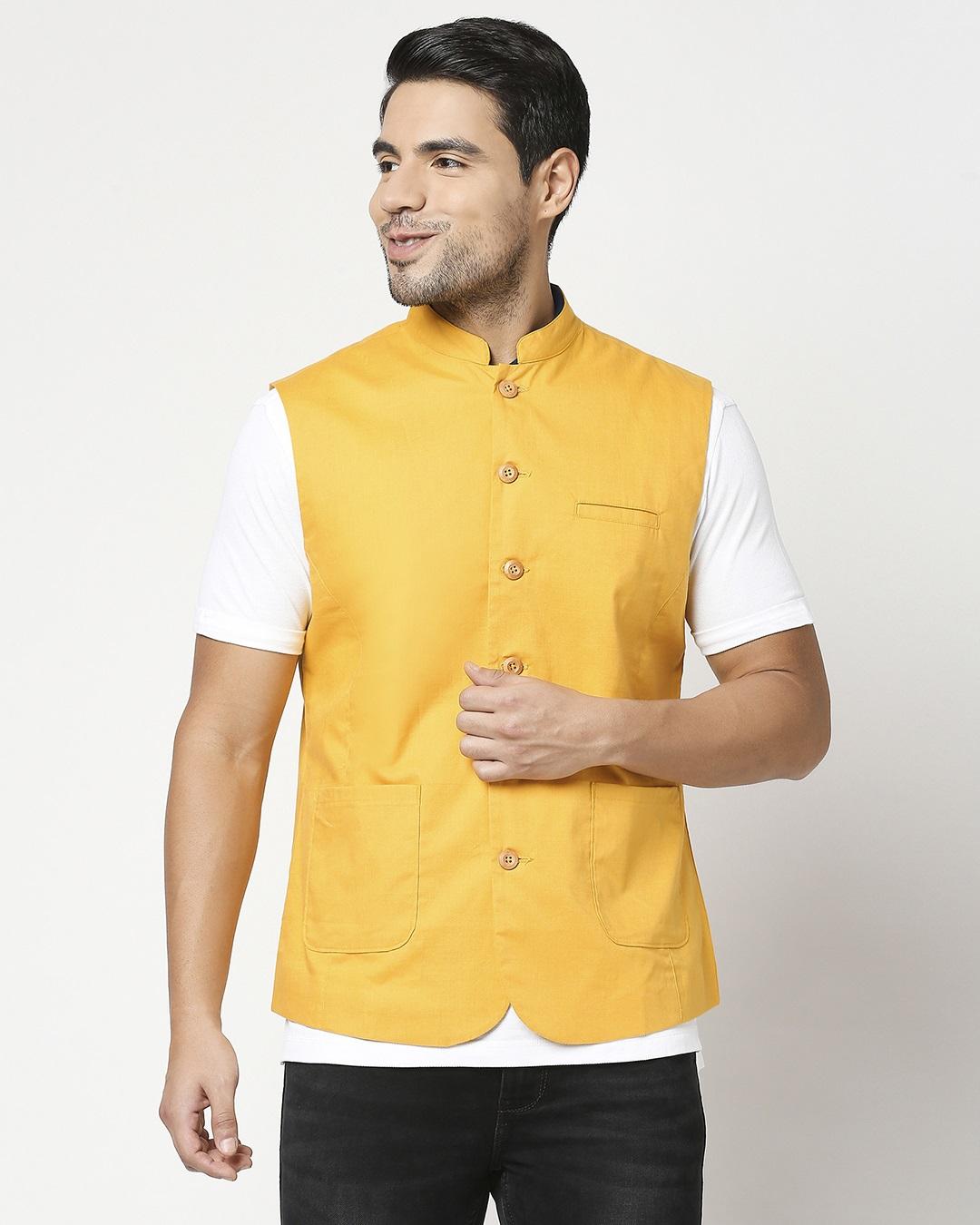 ShopMen's Solid Nehru Jacket-Back