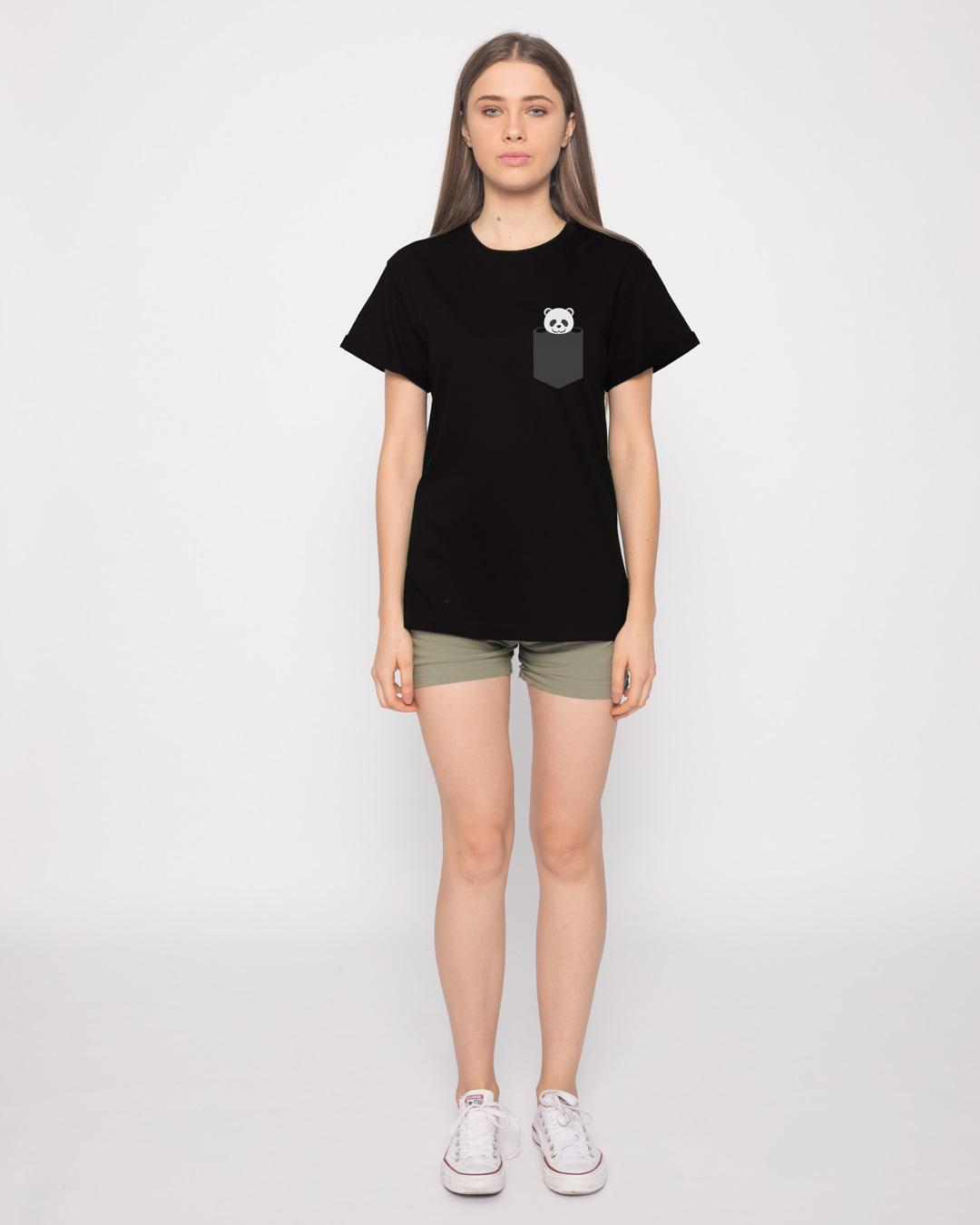 10b03d5b7 Buy Pocket Panda Printed Half Sleeve Boyfriend T-Shirt For Women Online  India   Bewakoof.com