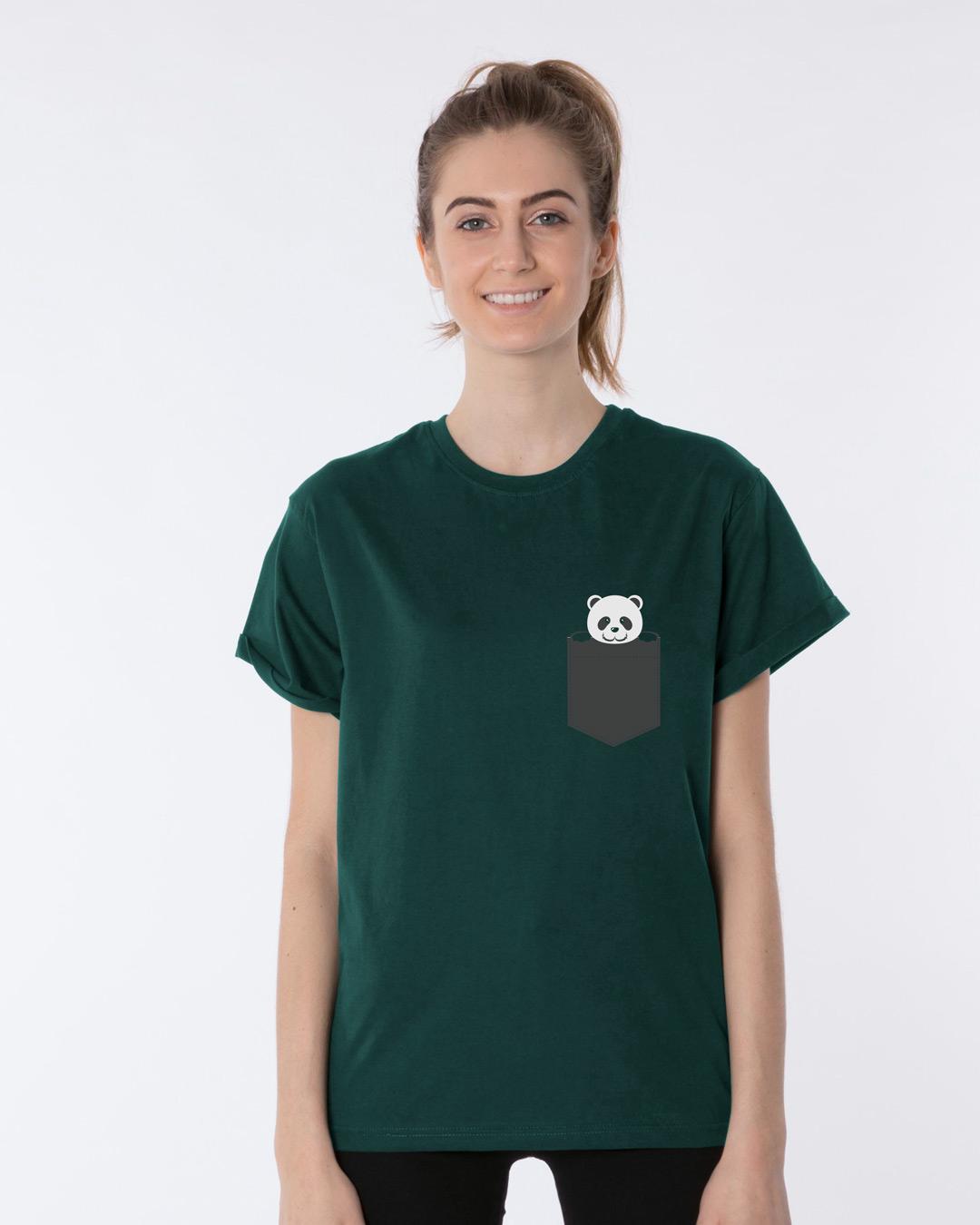 373b18647 Buy Pocket Panda Pine Green Printed Half Sleeve Boyfriend T-Shirt For Women  Online India   Bewakoof.com