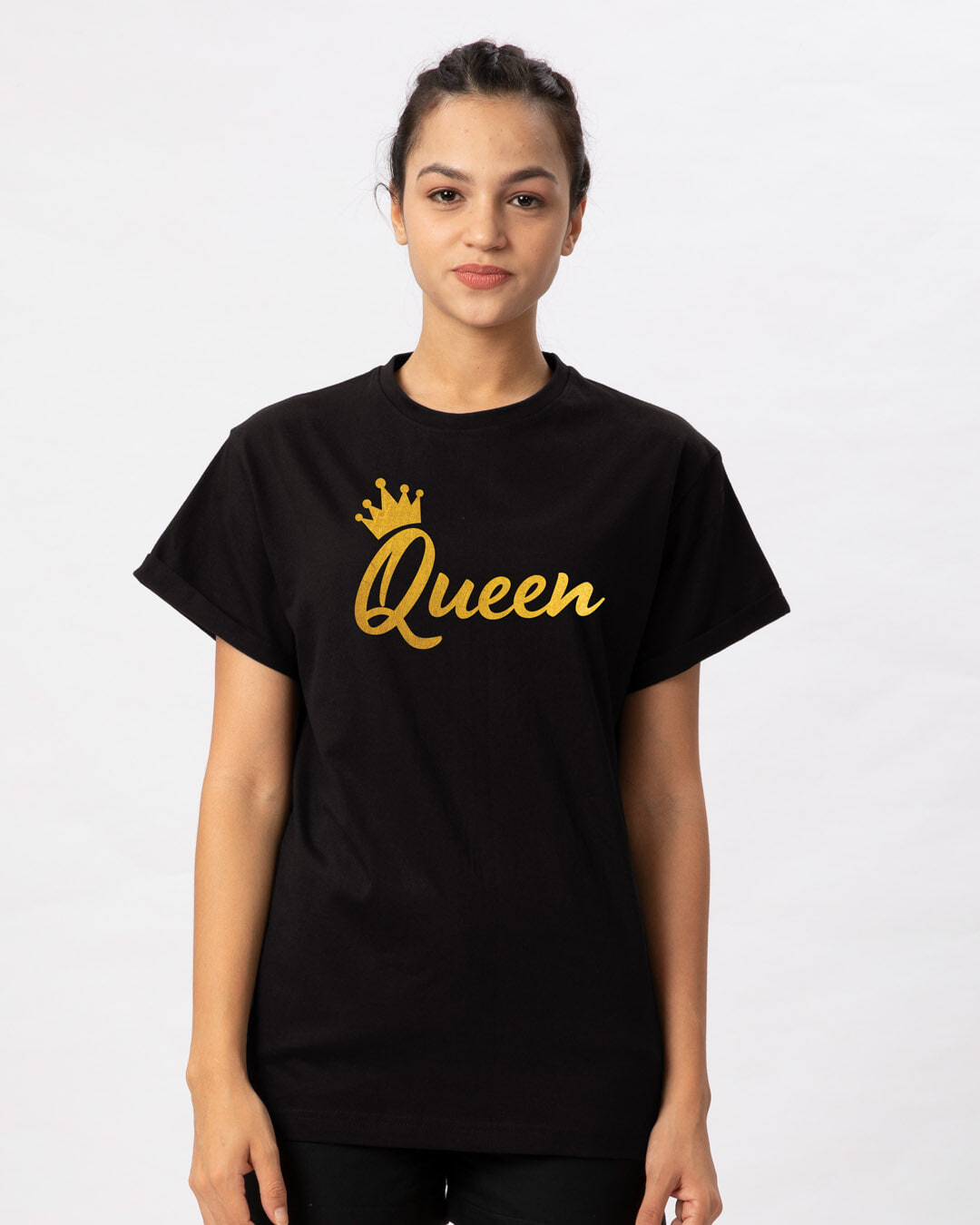 new product reliable quality promotion Queen Gold Print Boyfriend T-Shirt
