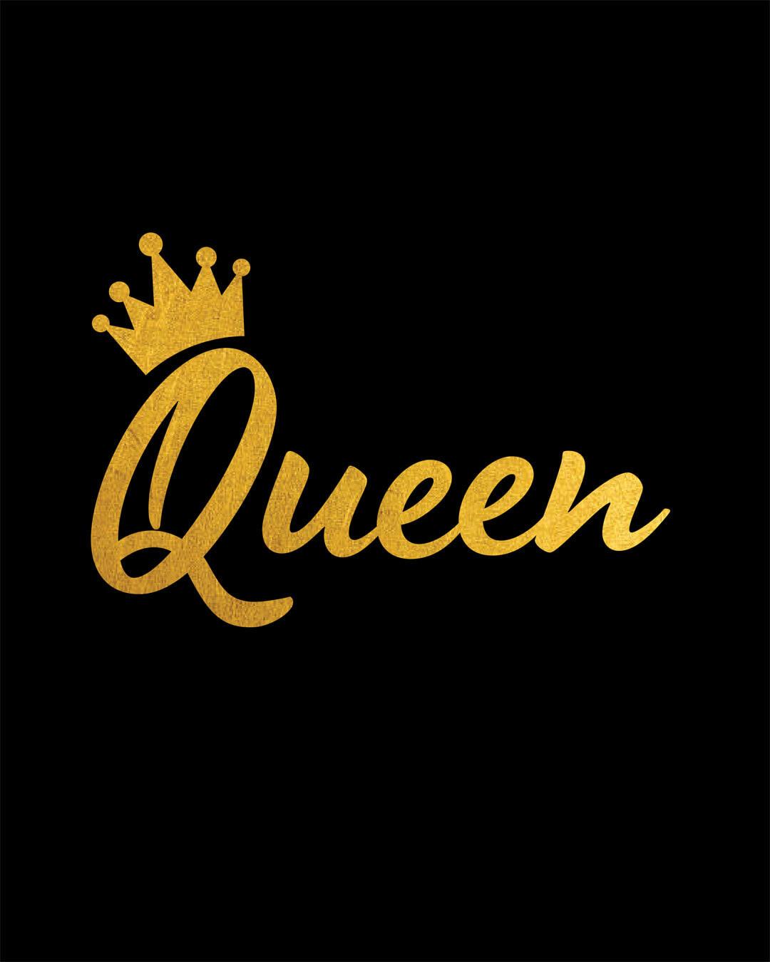 e9706df982 Buy Queen Gold Print Black Printed 3/4 Sleeve T-Shirt For Women Online  India @ Bewakoof.com