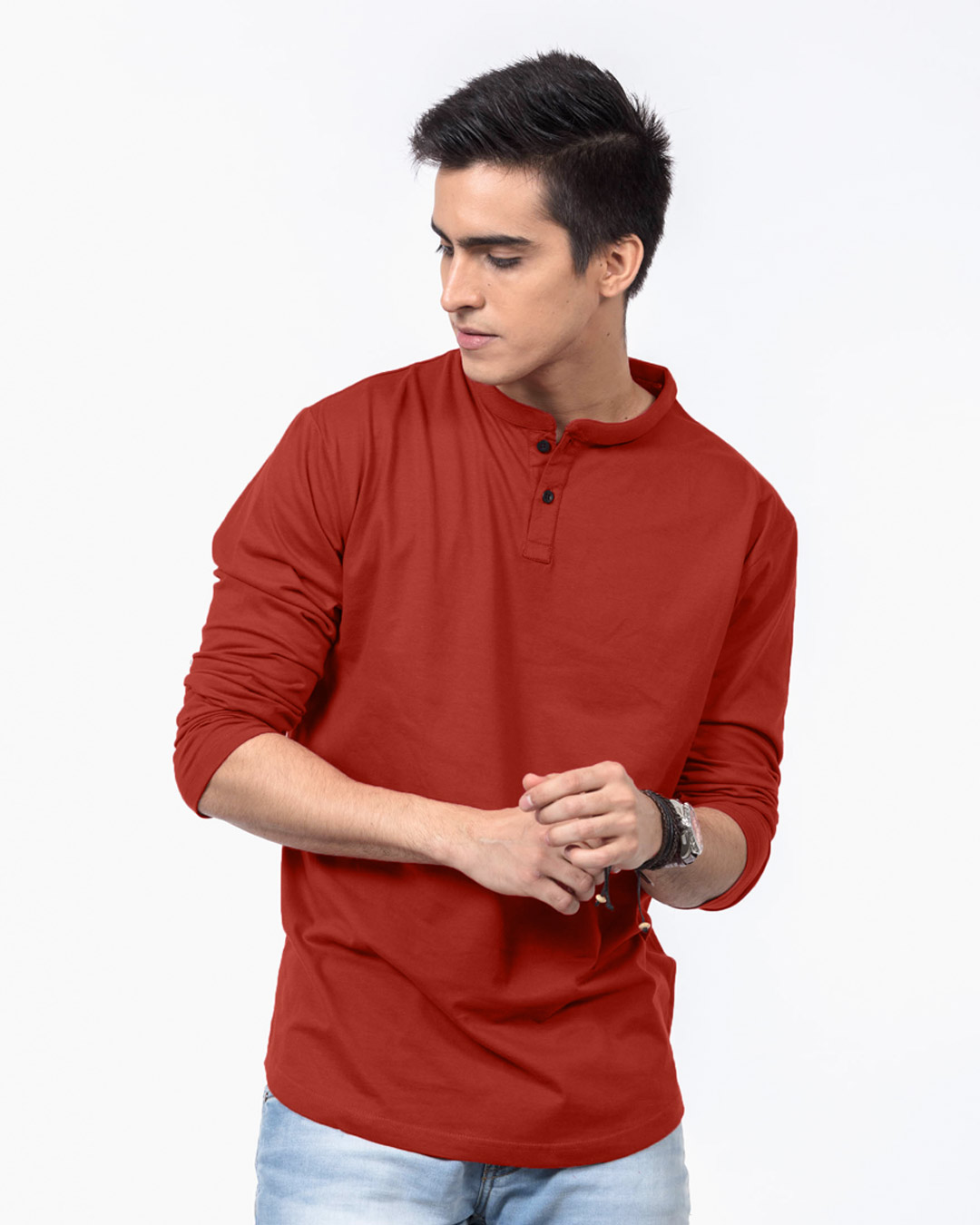 Buy Rust Orange Henley Fullsleeve Men 39 S Henley Fullsleeve
