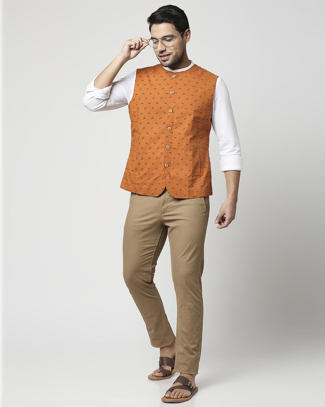 ShopRust Orange Men's Printed Waist Coat Waist Coat