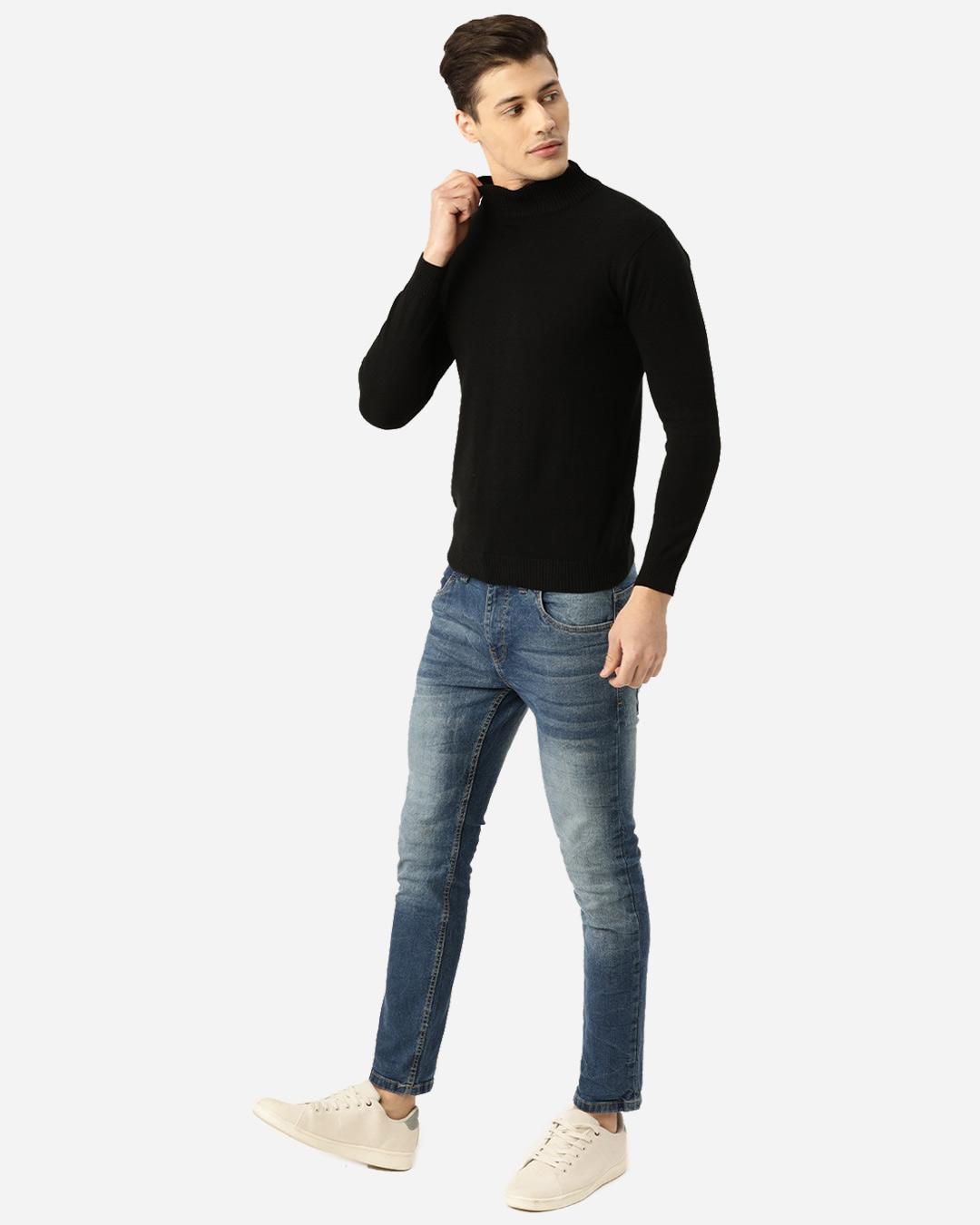 ShopMen Black Solid Pullover Sweater-Full