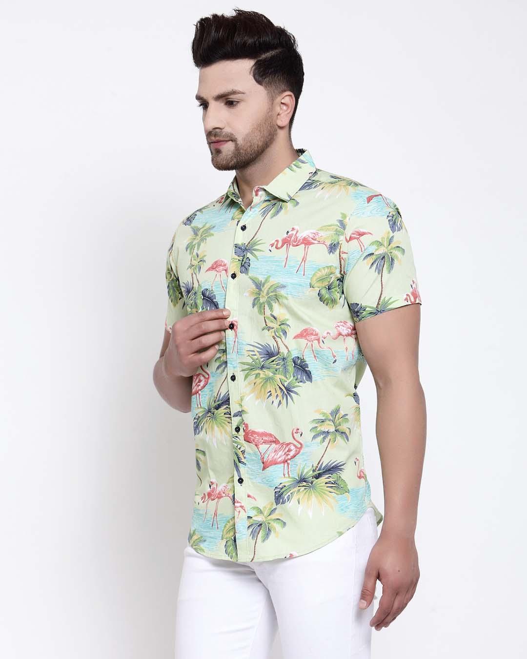 ShopMens Green Floral Print Shirt-Back