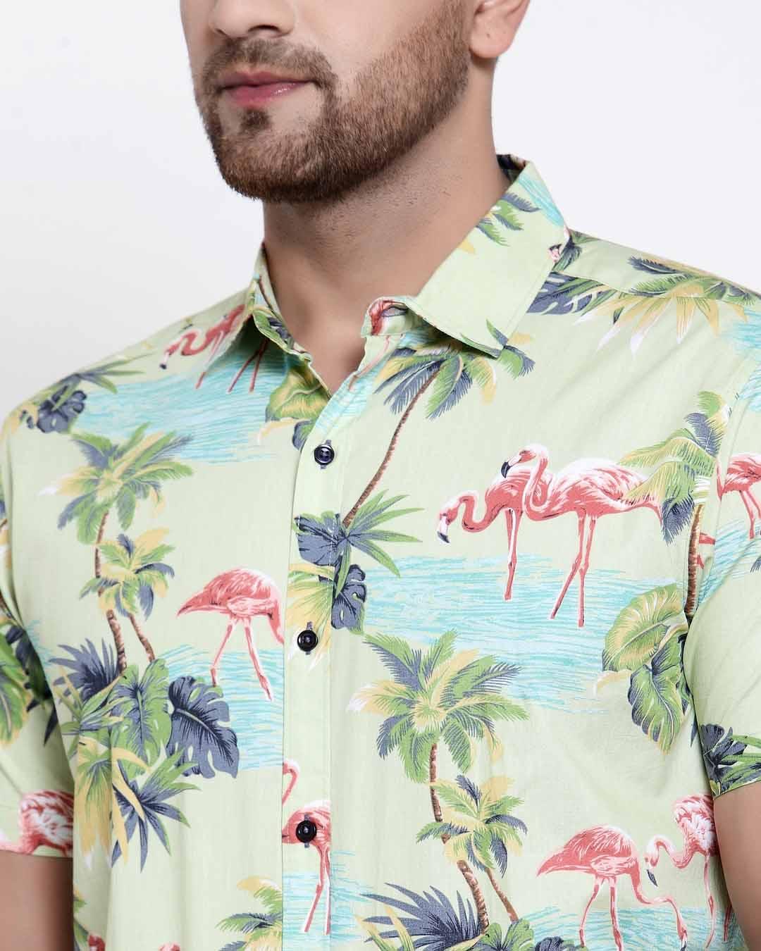 ShopMens Green Floral Print Shirt