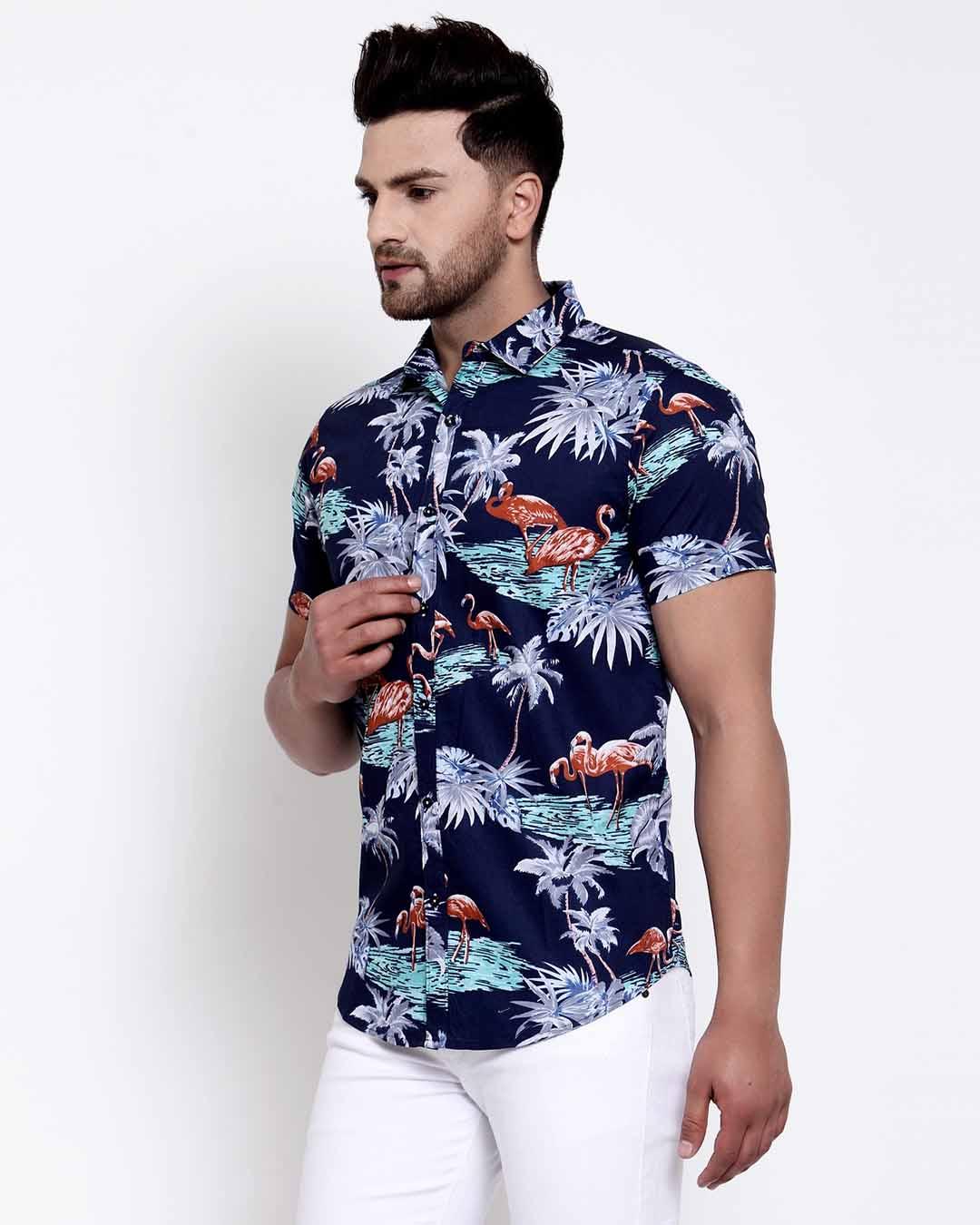 ShopMens Navy Blue Floral Print Shirt-Back