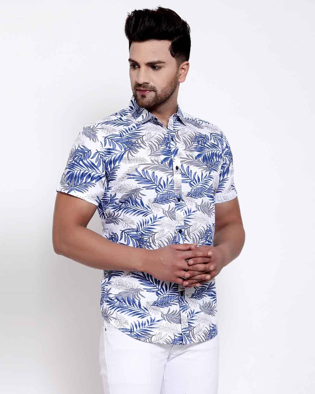 ShopMens White Floral Print Shirt-Back
