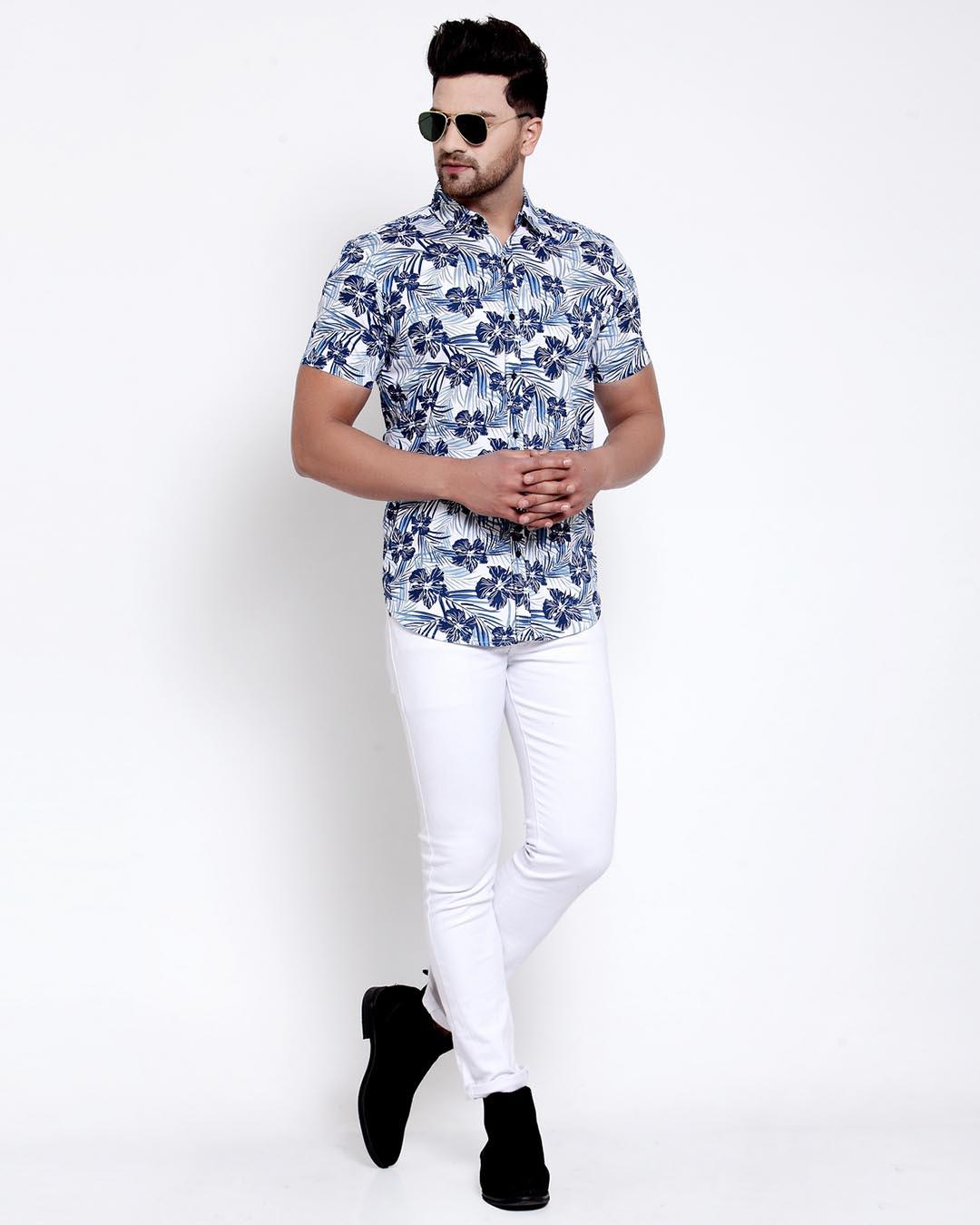 ShopMens White Floral Print Shirt-Full