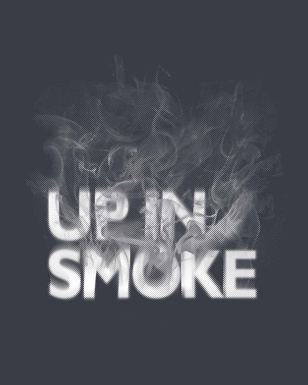 up in smoke typography half sleeve t shirt up in smoke typography